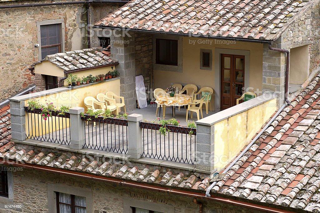 Sunny Tuscan Patio stock photo