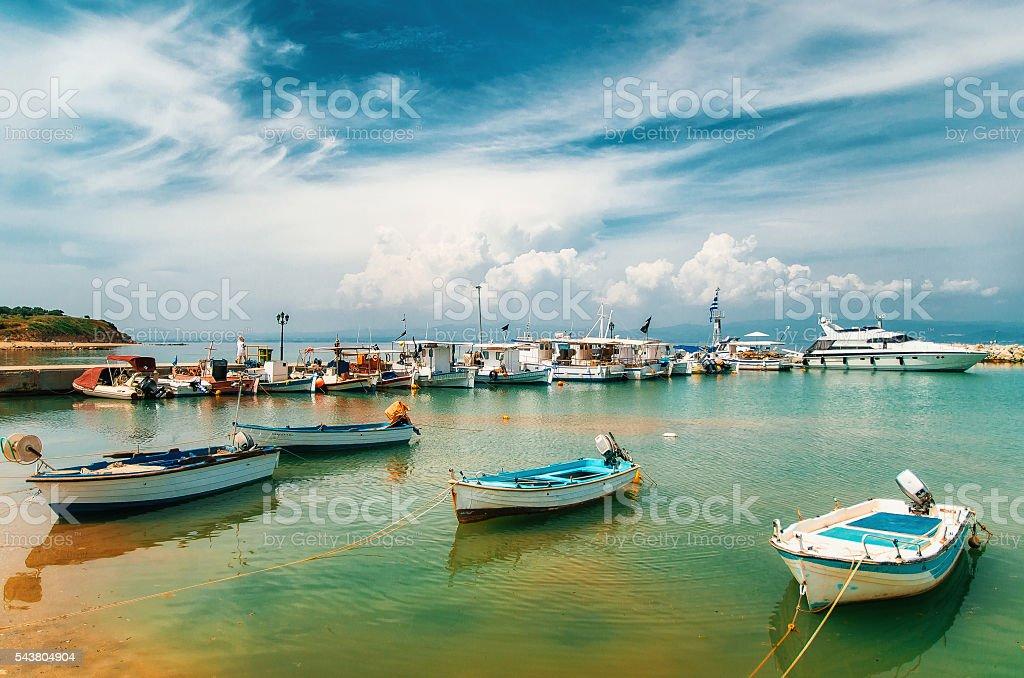 Sunny view of boats, yachts from Nea Fokia, Halkidiki, Greece. stock photo