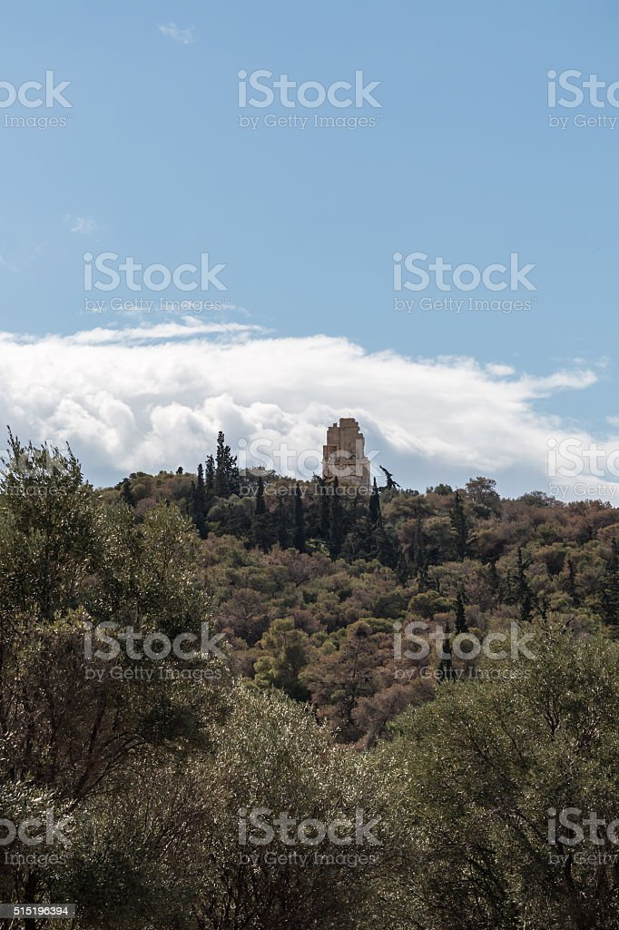 Sunny view of Filopappos Hill Athens, Greece stock photo