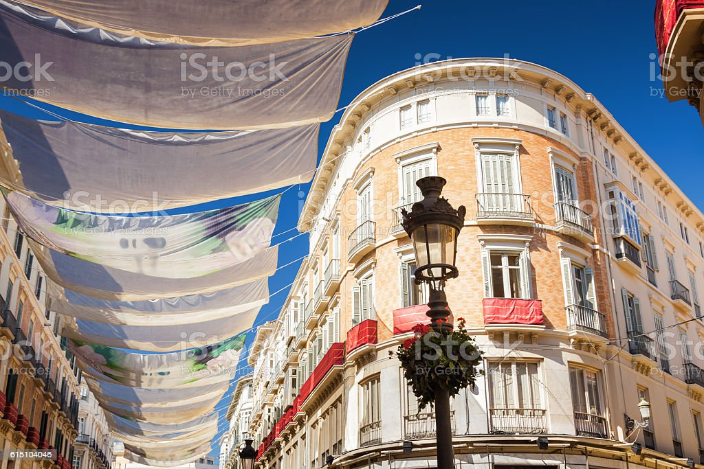 Sunny view of Larios street in Malaga, Andalusia province, Spain. stock photo
