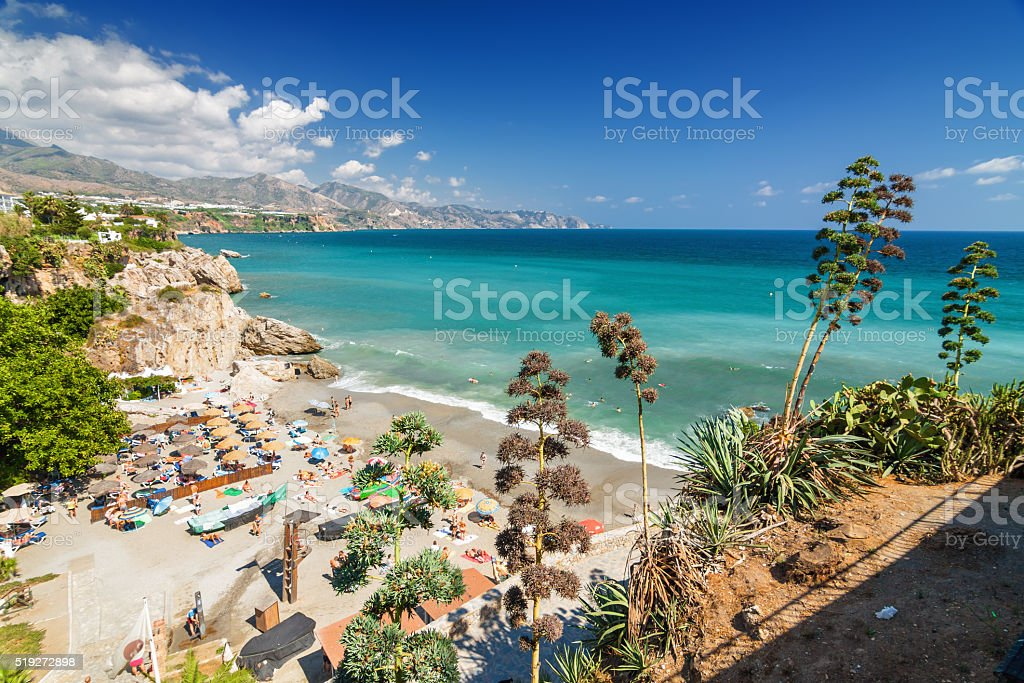 Sunny view of Mediterranean sea in Nerja, Andalusia province, Spain. stock photo