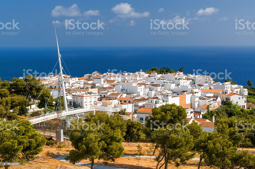 Sunny view of Nerja and Mediterranean sea, Andalusia province, Spain. stock photo