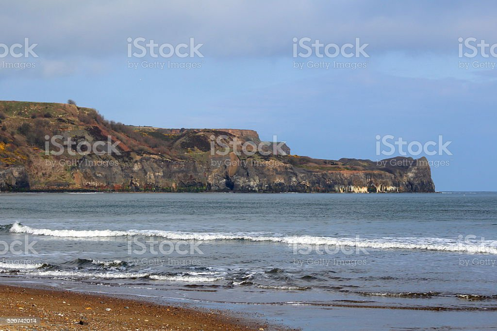 Sunny View of Sandsend from Whitby, North Yorkshire stock photo