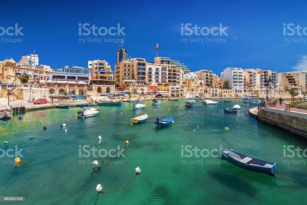 Sunny view of Spinola Bay and San Julien, Malta. stock photo