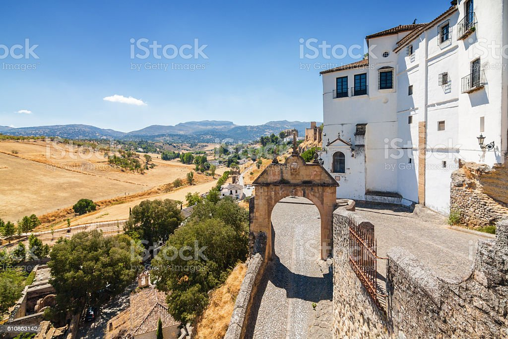 Sunny view of the street in Ronda, Malaga province, Spain. stock photo