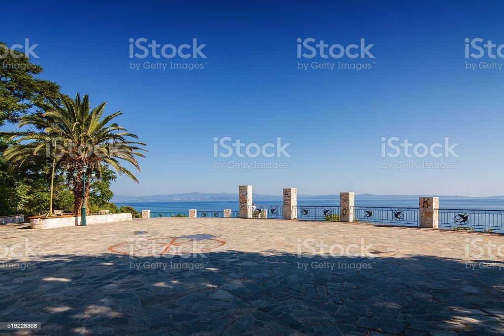 Sunny view of viewpoint of Kalithea village, Halkidiki, Greece. stock photo