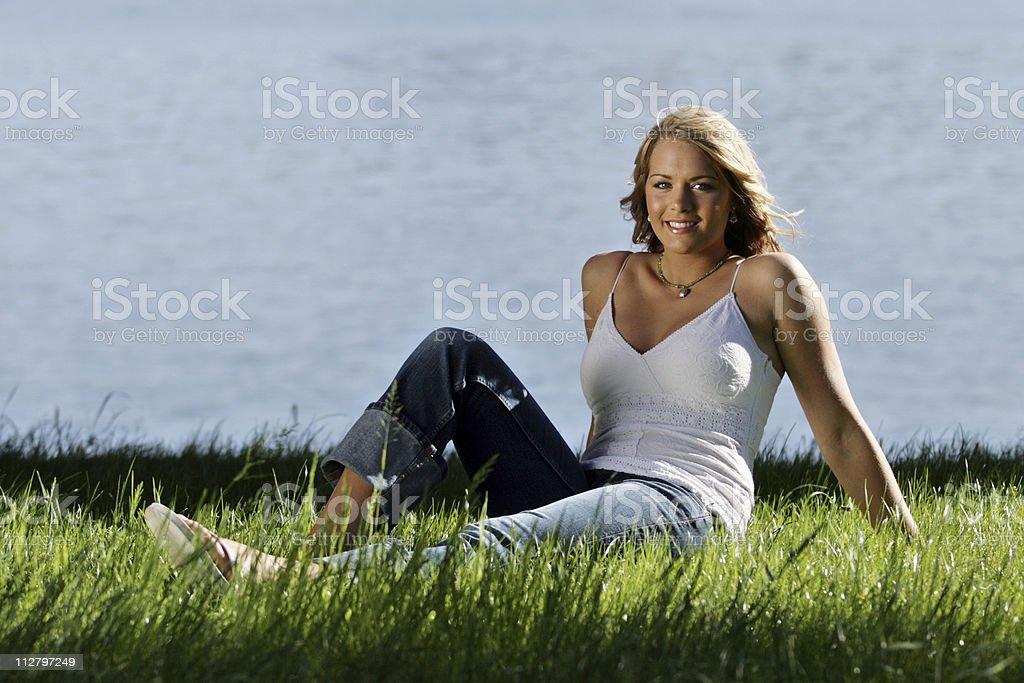 Sunny Water Girl stock photo
