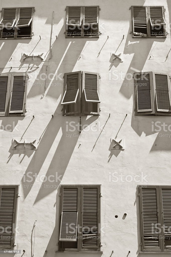 Sunny windows - repeting geometrical architectural pattern royalty-free stock photo