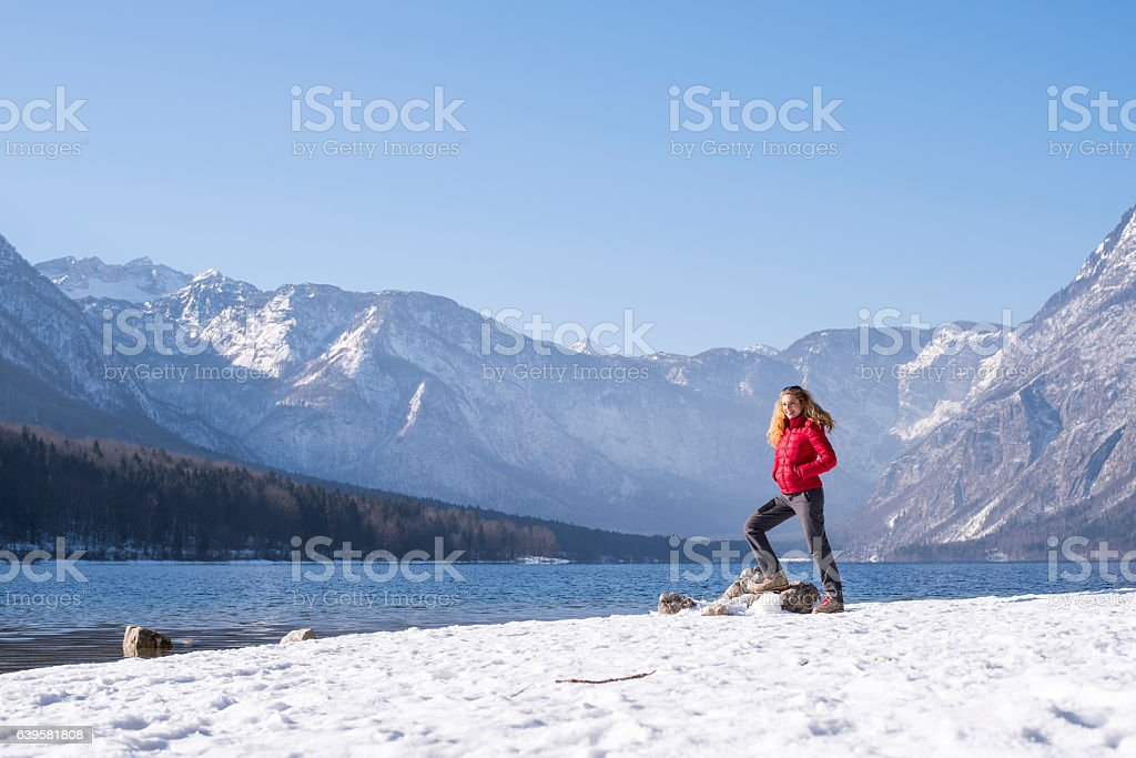 Sunny winter day in the mountains stock photo