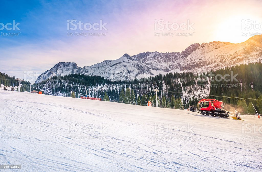 Sunny winter day on the ski slope stock photo