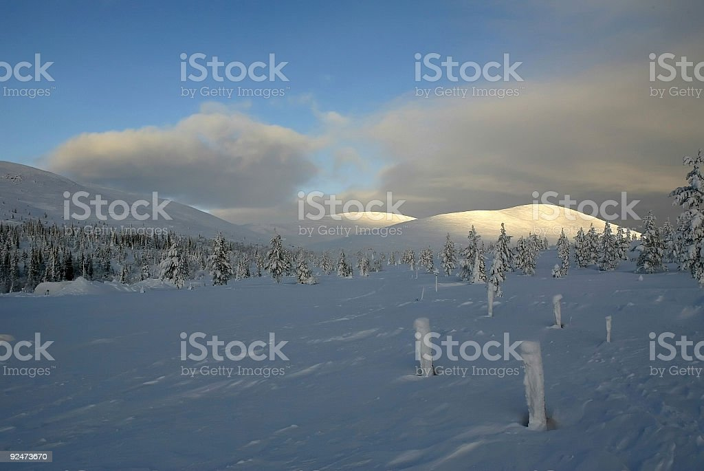 sunny winter landscape finland Lapland royalty-free stock photo