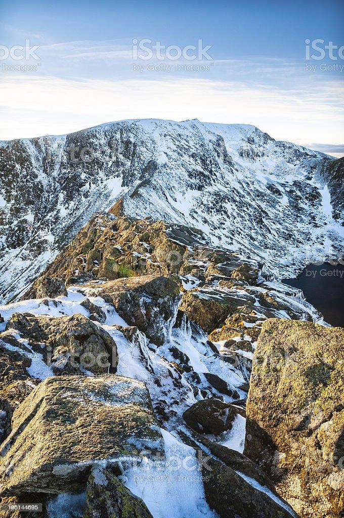 Sunny winter morning ridge Striding Edge Lake District England royalty-free stock photo