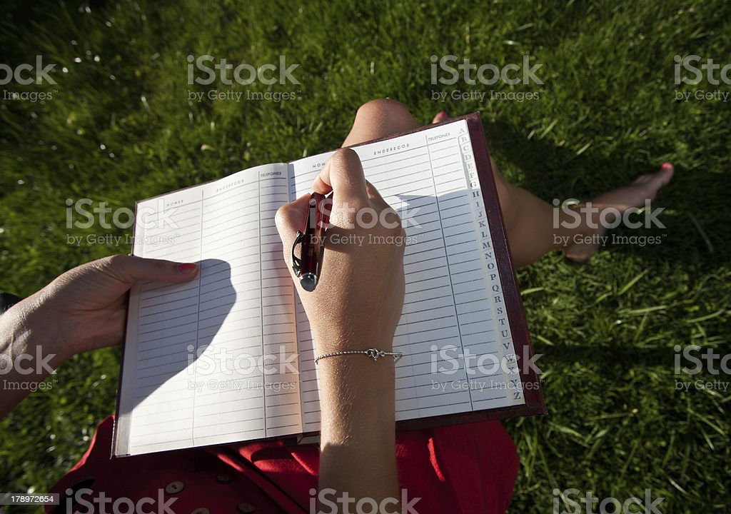 sunny writing stock photo