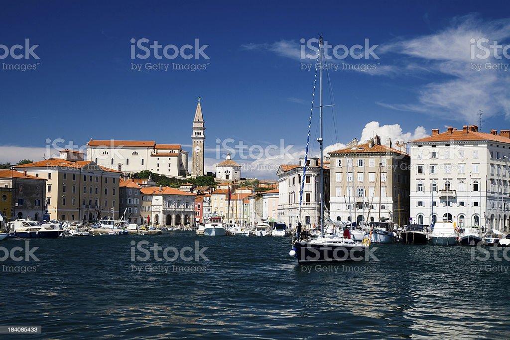 sunny yacht harbor slovenia royalty-free stock photo