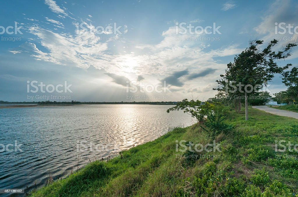 Sunray in the lake royalty-free stock photo