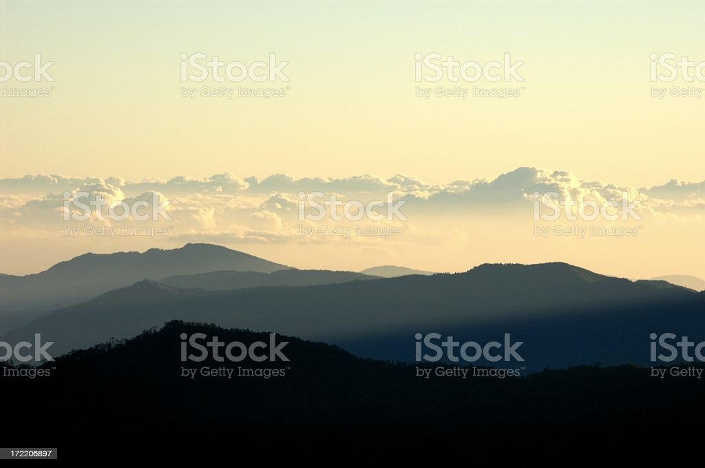 Sunray of early morning in Taiwanese mountain range royalty-free stock photo