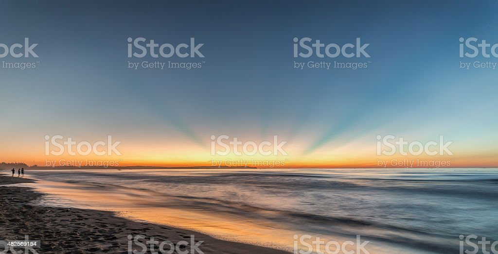 Sunray on My Khe Beach, Quang Ngai stock photo