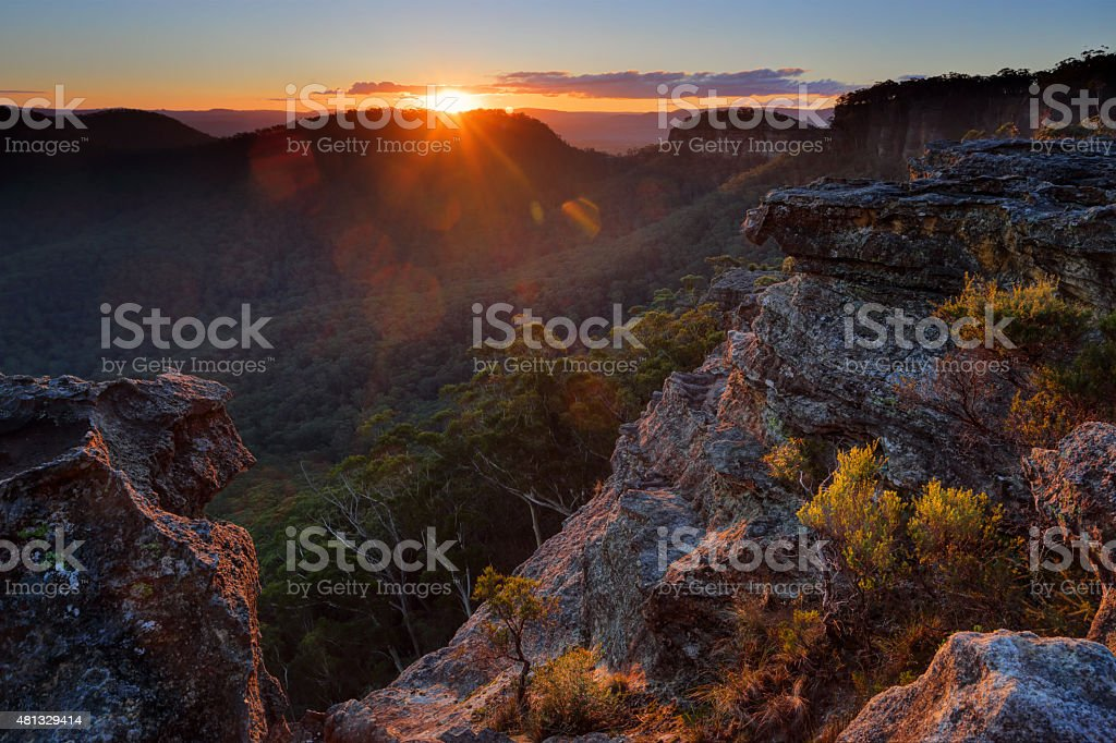 Sunrays at Sunset Rock Mt Victoria stock photo