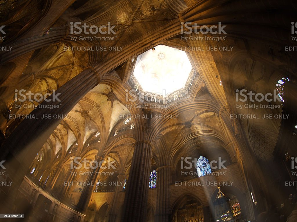 Sunrays Shines through a Cathedral stock photo