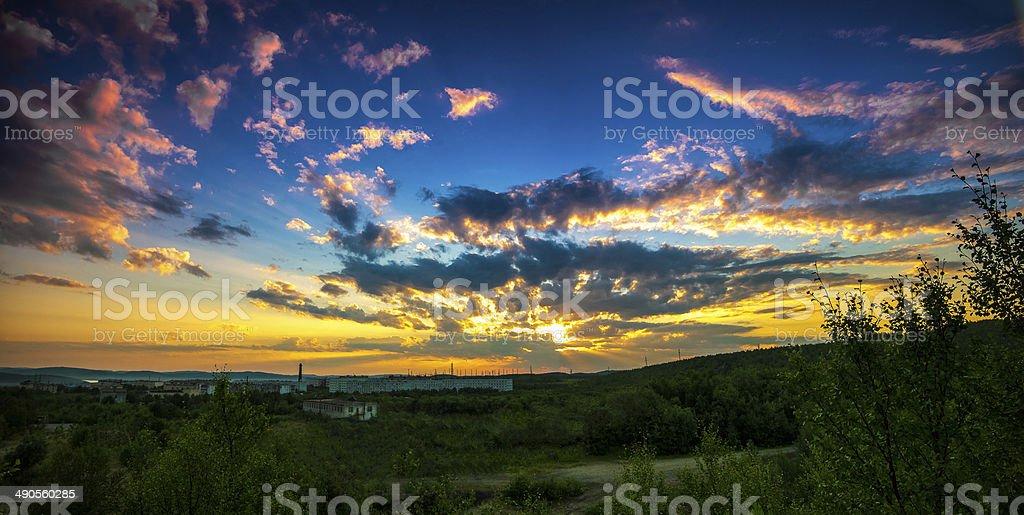 Sunrays sunset royalty-free stock photo