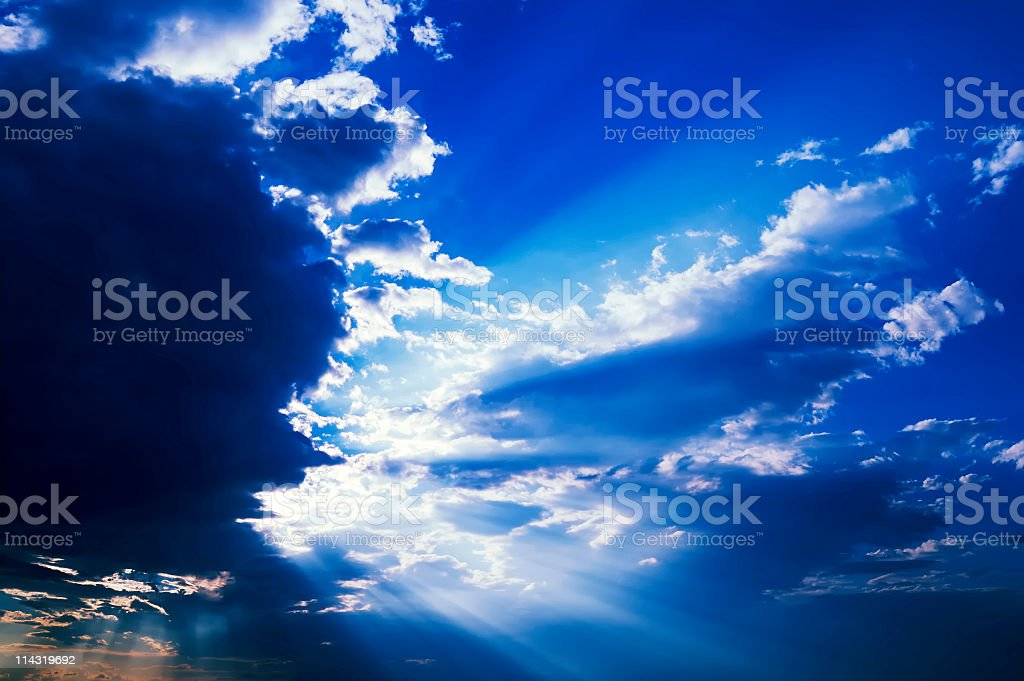 Sunrays Through Clouds royalty-free stock photo