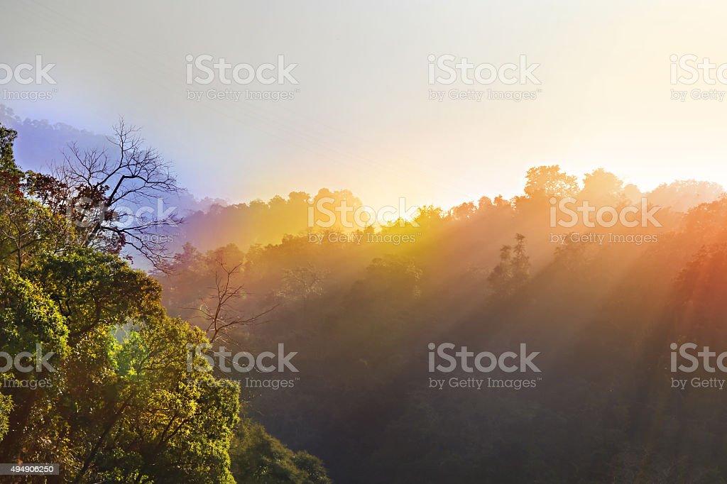 Sunrays Through Mountains HDR Image stock photo