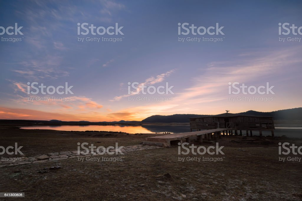 Sunrinse Lac Afenourir near Azrou, Ifrane, Morocco stock photo