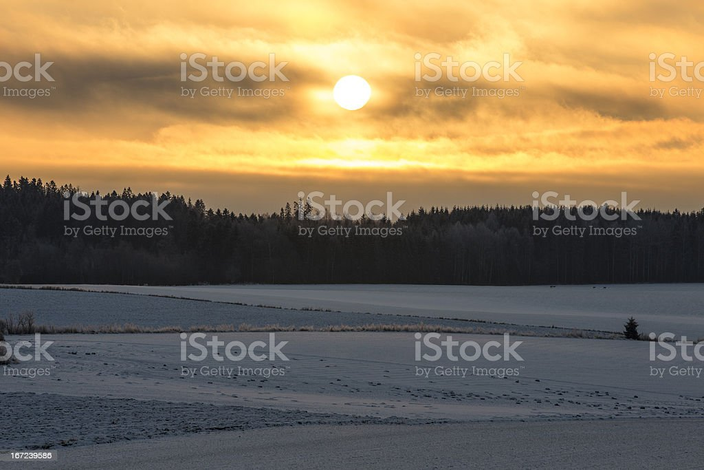 Sunrise a Cold Winter Morning royalty-free stock photo