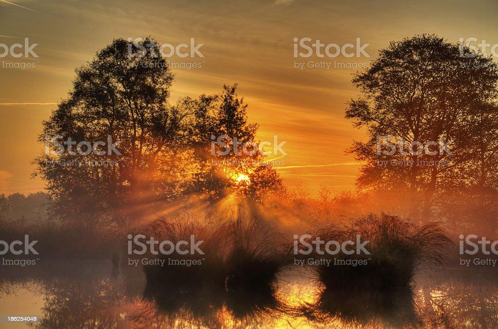 Sunrise above a lake stock photo