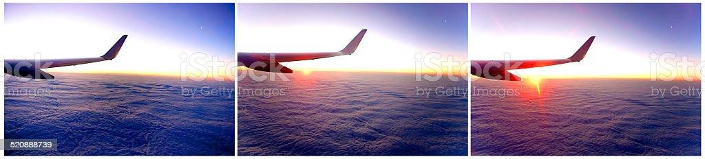 Sunrise above cloudscape stock photo