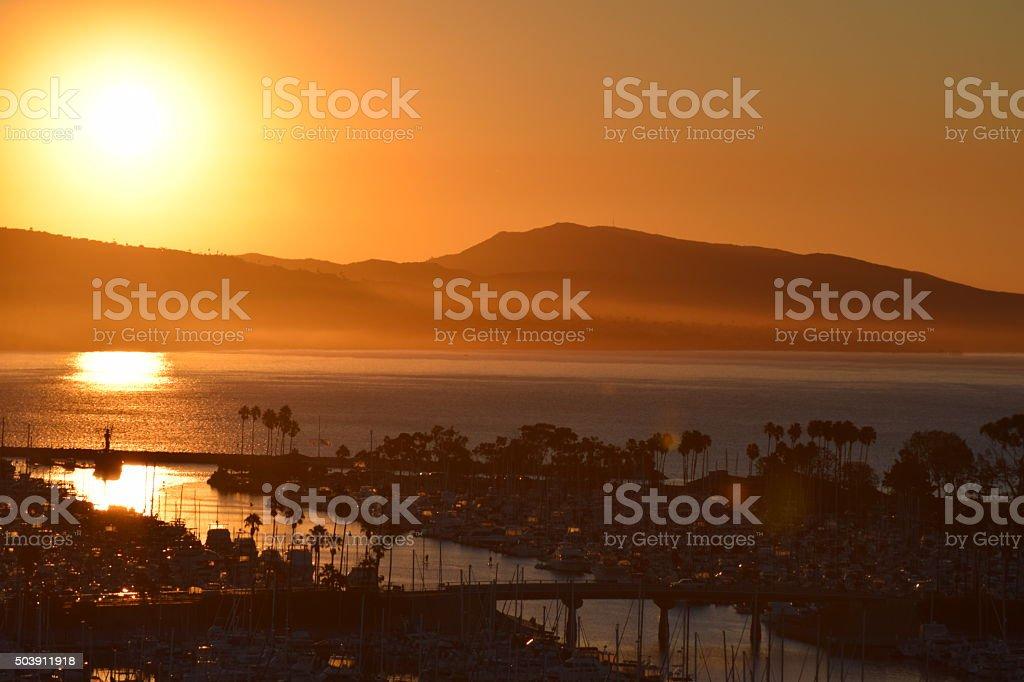 Sunrise above Dana Point harbor stock photo