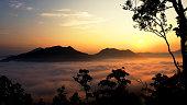 Sunrise above the Fog, Mountain landscape,