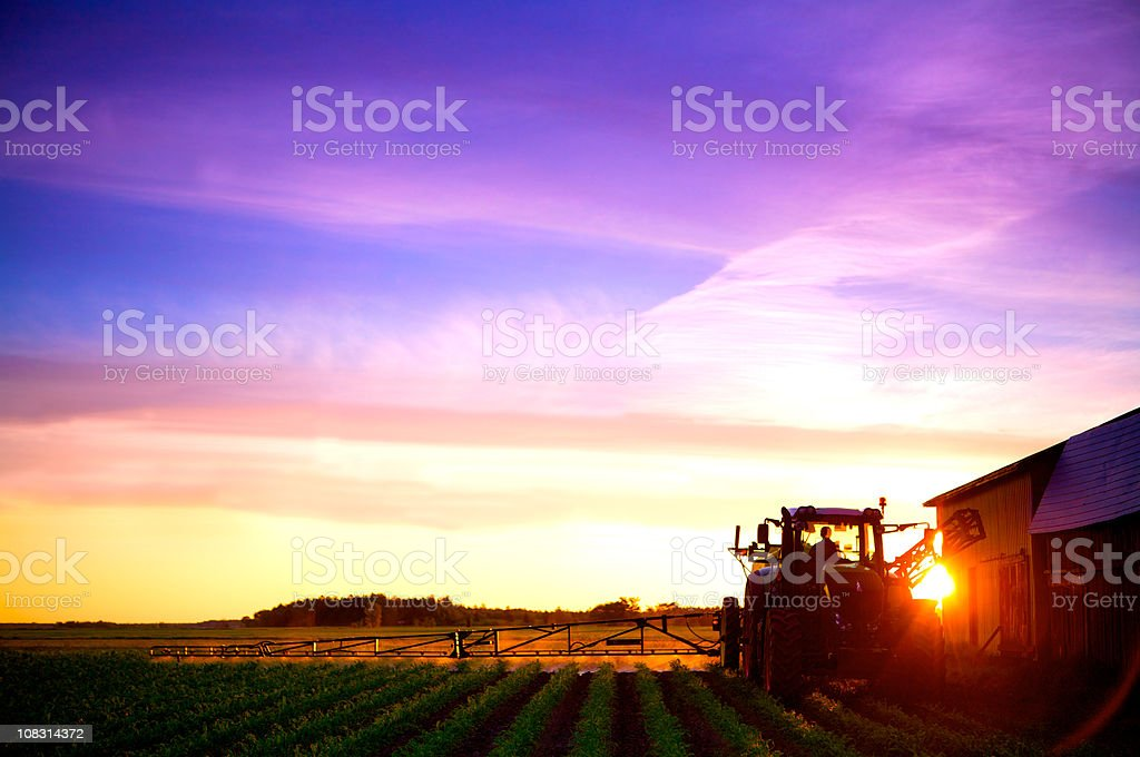 sunrise agriculture truck spraying field royalty-free stock photo