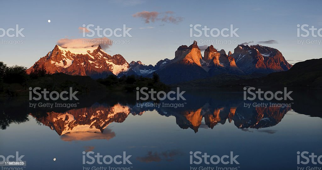 Sunrise & Alpenglow at Torres del Paine National Park, Patagonia royalty-free stock photo