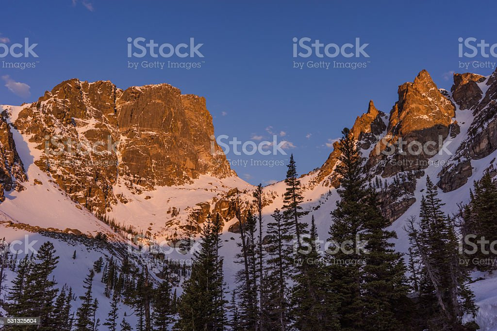 Sunrise Alpenglow, Rocky Mountain National Park, Colorado stock photo