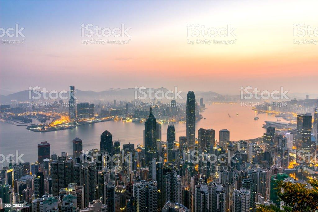 Sunrise and buildings in Vitoria harbour, Hongkong stock photo