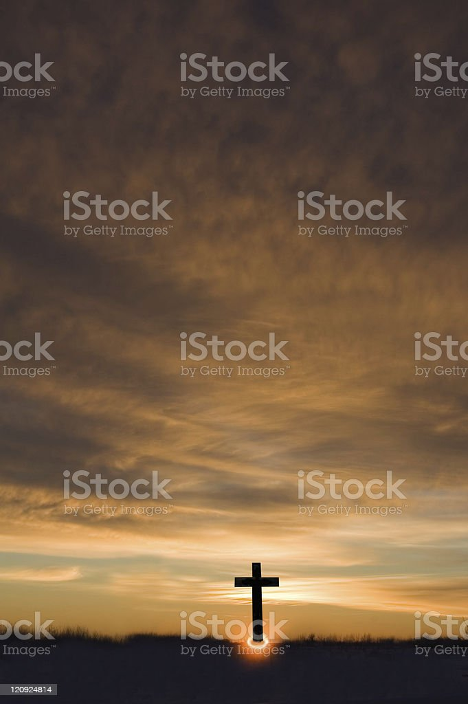 Sunrise and Cross stock photo