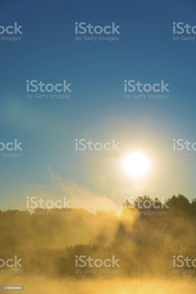 Sunrise and Fog Over the Pond - 36 Mpx royalty-free stock photo