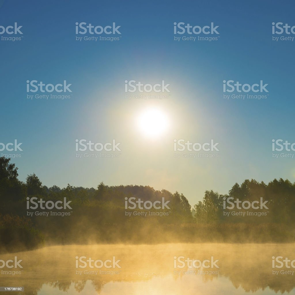 Sunrise and Fog Over the Pond - XXXL royalty-free stock photo