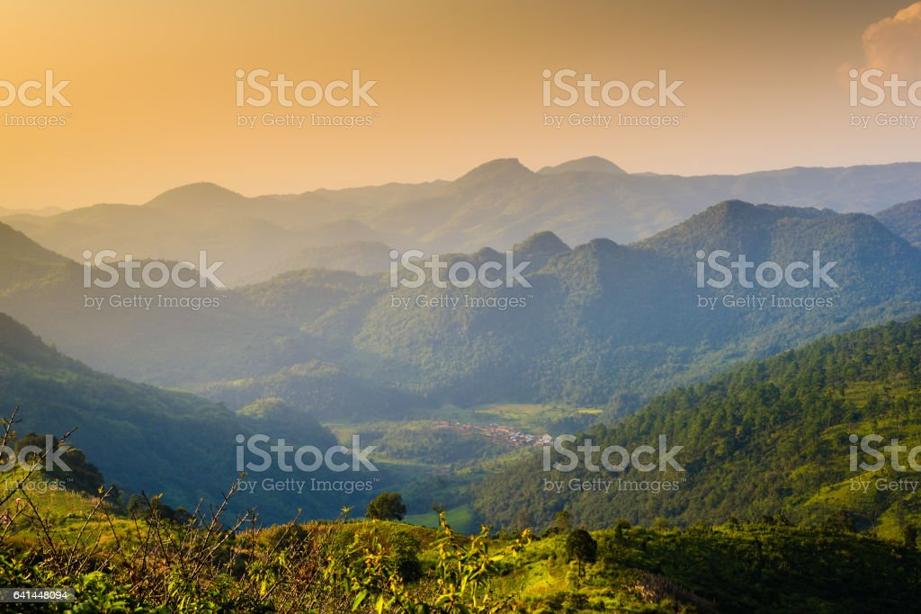 Sunrise and mist on mountain view at the north of thailand stock photo