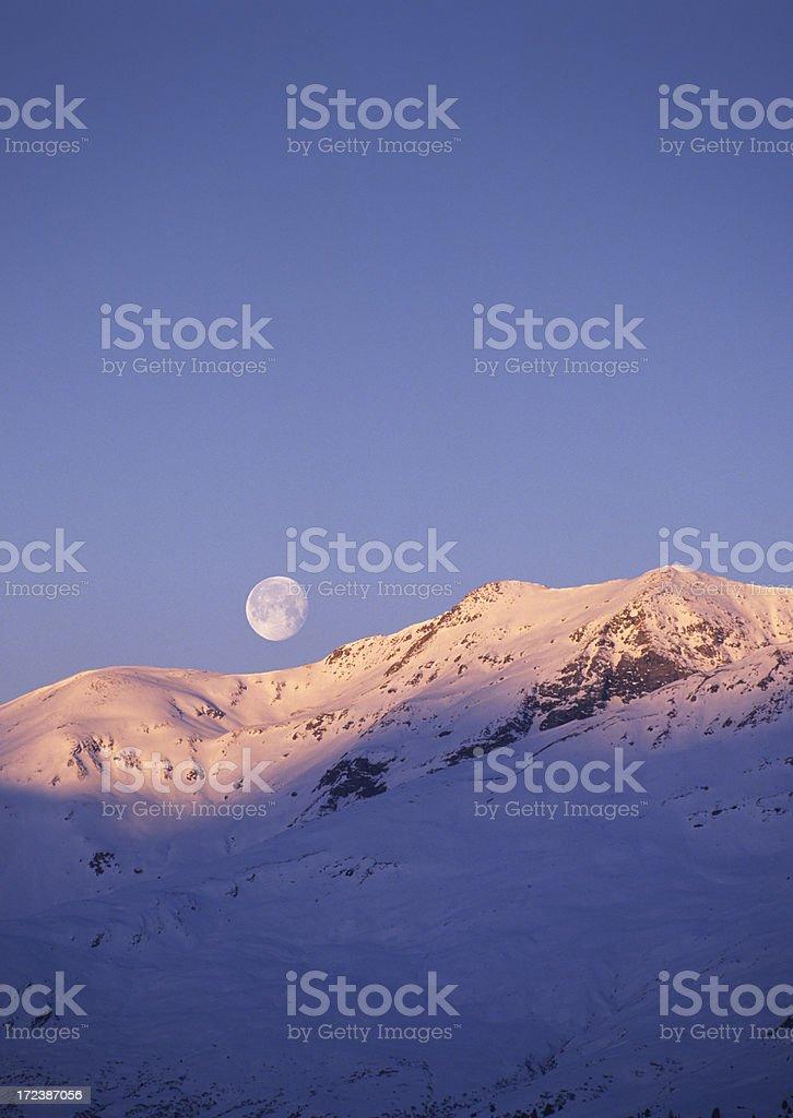 Sunrise and moonset (image size XXL) royalty-free stock photo