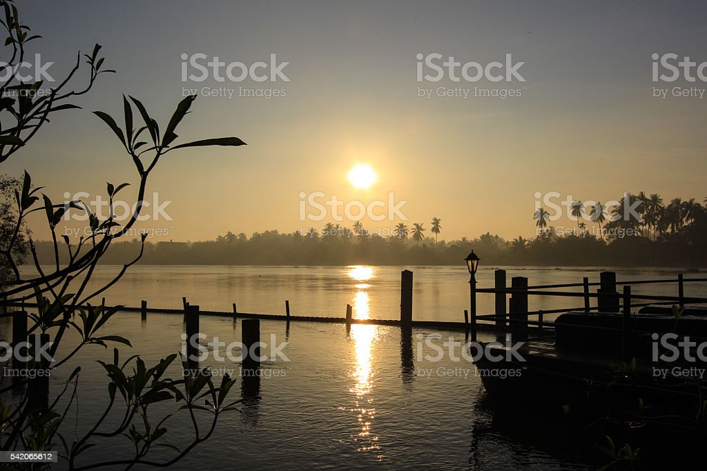 sunrise  and morning sky at Mae Klong River stock photo