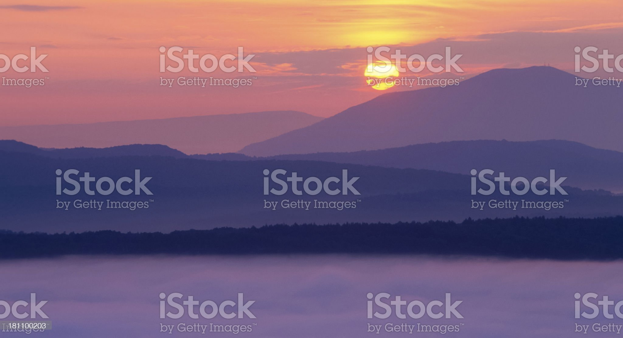 Sunrise and Mountain Mist royalty-free stock photo