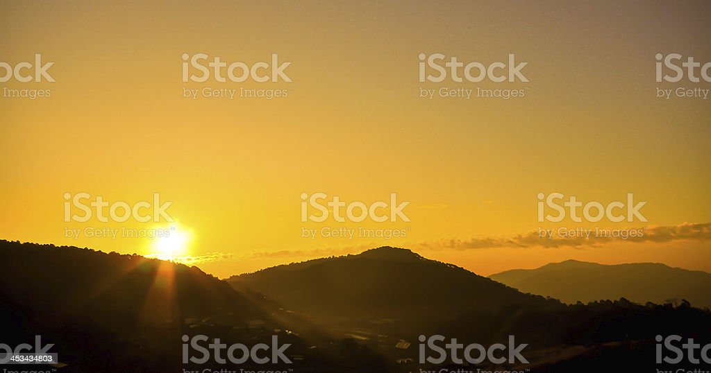sunrise and mountain stock photo