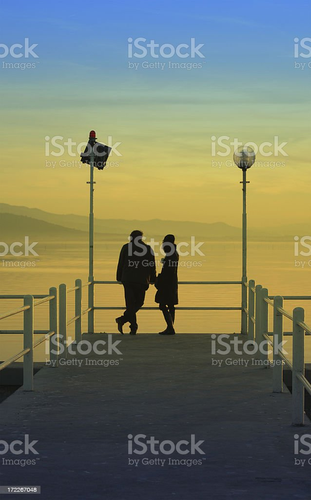 Sunrise and people royalty-free stock photo
