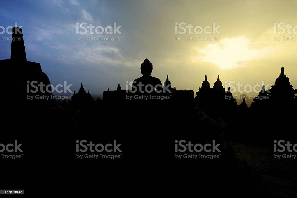 Sunrise and Silhouette at Borobudur royalty-free stock photo