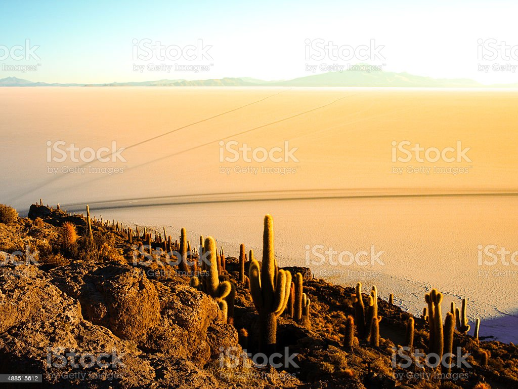 Sunrise and Uyuni salt plain stock photo