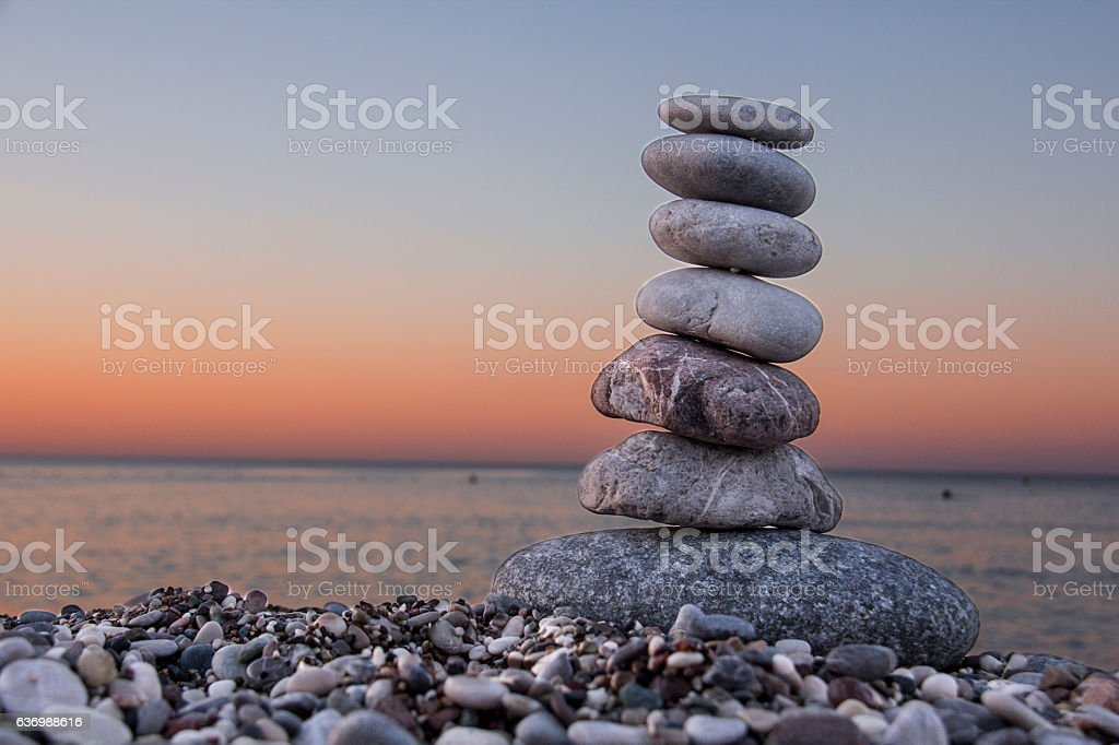 Sunrise and zen. stock photo