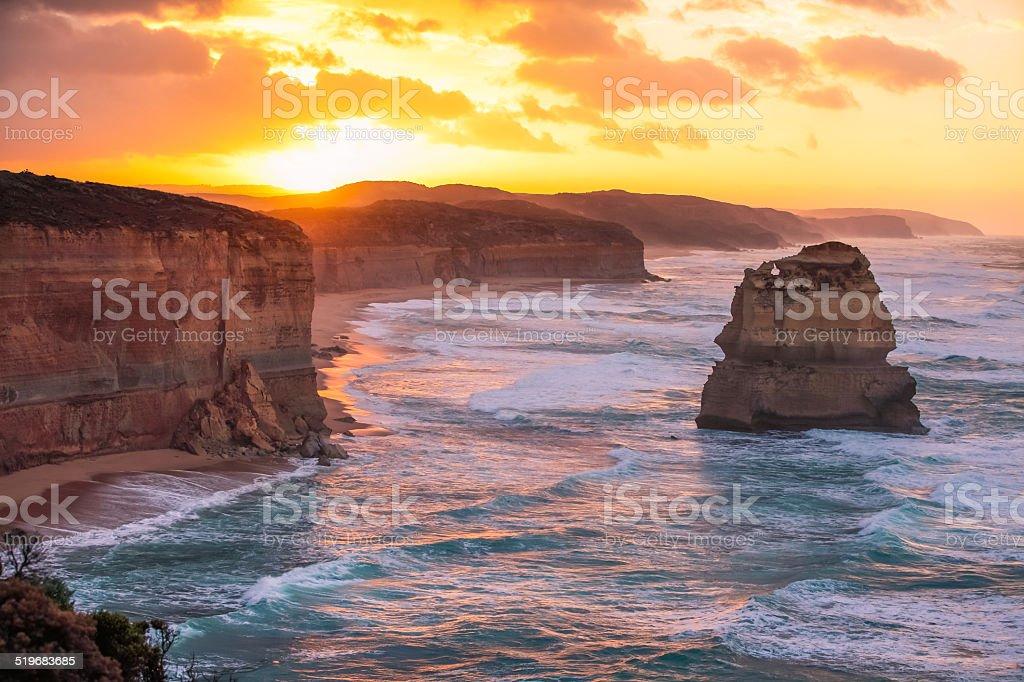 Sunrise at 12 Apostles stock photo