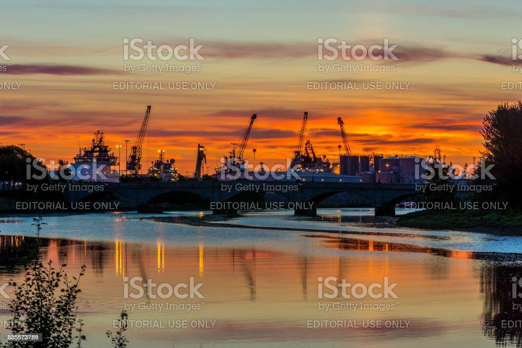 Sunrise at Aberdeen. stock photo
